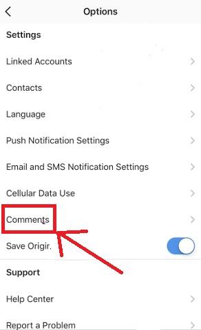 تعیین دسترسی کامنت ها در اینستاگرام